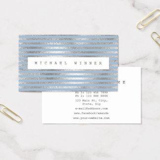 Cartão De Visitas O branco Pastel azul de prata do minimalismo
