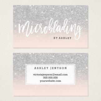 Cartão De Visitas O brilho da prata da tipografia de Microblading