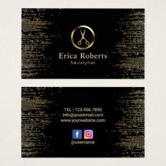 Cartão De Visitas O cabeleireiro Scissor o preto na moda & o ouro do