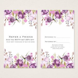 Cartão De Visitas O chique floral do Lilac roxo da lavanda consulta