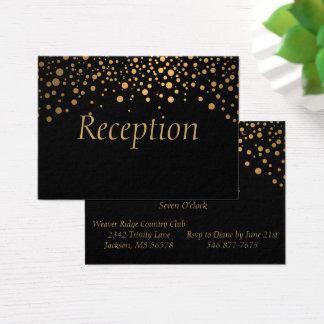Cartão De Visitas O confete à moda da folha de ouro pontilha o preto