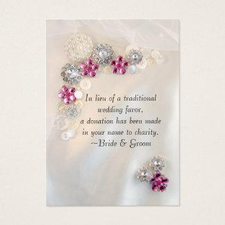 Cartão De Visitas O diamante cor-de-rosa da pérola abotoa o favor da