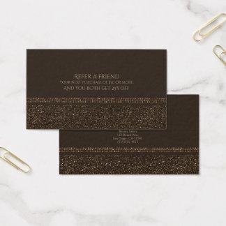 Cartão De Visitas O encanto Sparkling do chique de bronze de Brown
