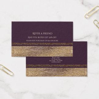 Cartão De Visitas O encanto Sparkling do chique roxo do ouro