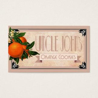 Cartão De Visitas O favor alaranjado | dos biscoitos do tio John do