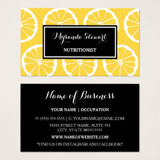 Cartão De Visitas O limão preto e amarelo à moda corta o