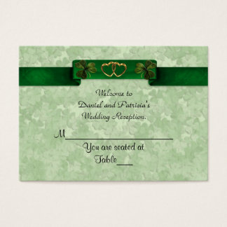 Cartão De Visitas O lugar do casamento carda trevos irlandeses