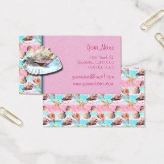 Cartão De Visitas O mar descasca o rosa e a aguarela de turquesa