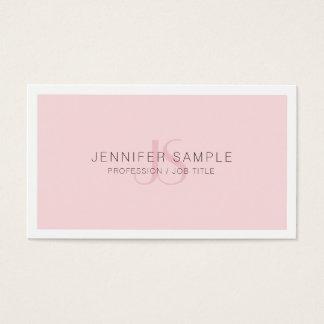 Cartão De Visitas O monograma cor-de-rosa elegante moderno limpa o