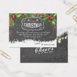 Cartão De Visitas O Natal floral do feriado da poinsétia deseja o