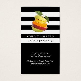 Cartão De Visitas O nutricionista frutifica logotipo - listras