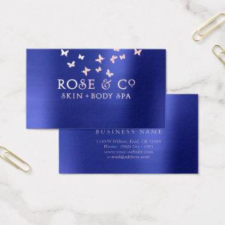 Cartão De Visitas O ouro cor-de-rosa cora borboleta esmeralda dos