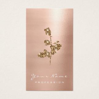 Cartão De Visitas O ouro cor-de-rosa cora rosa da flor do brilho