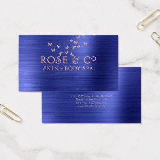 Cartão De Visitas O ouro do rosa do rosa cora borboleta esmeralda do