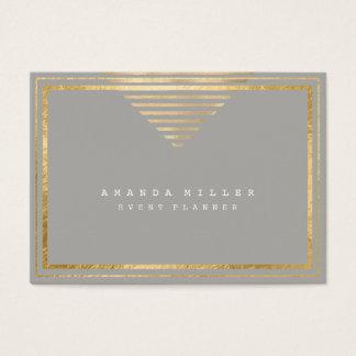 Cartão De Visitas O ouro listra as cinzas mínimas brancas da