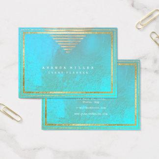 Cartão De Visitas O ouro listra o azul mínimo da geometria do Aqua