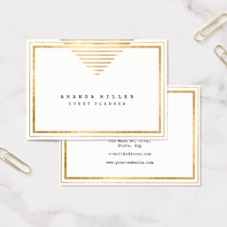 Cartão De Visitas O ouro listra o estilista mínimo branco do evento