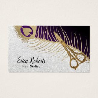 Cartão De Visitas O ouro moderno do cabeleireiro Scissor & a pena do