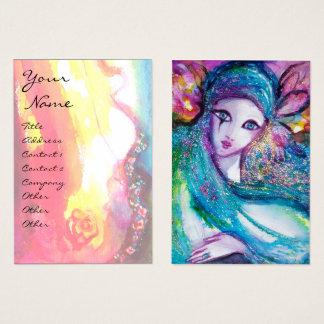 Cartão De Visitas O ouro Venetian do rosa do mascarada da SENHORA