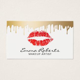 Cartão De Visitas O ouro vermelho dos lábios do maquilhador goteja o