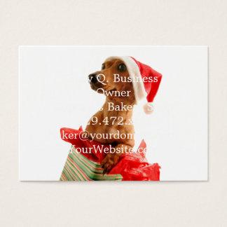Cartão De Visitas O papai noel do Dachshund - cão do papai noel -