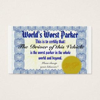 Cartão De Visitas O Parker o mais mau do mundo