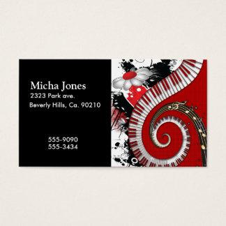 Cartão De Visitas O piano fecha redemoinhos florais do Grunge das