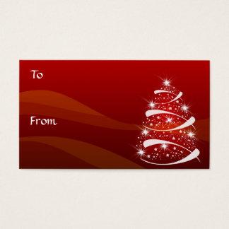 Cartão De Visitas O presente da árvore de Natal etiqueta o *TBA