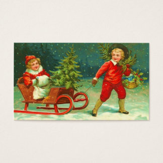 Cartão De Visitas O presente do natal vintage Tag-Vê para trás