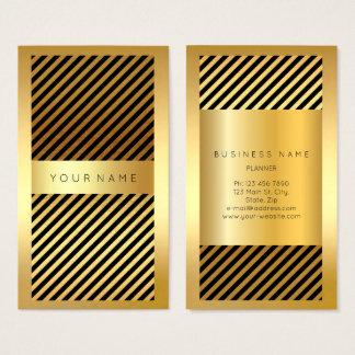 Cartão De Visitas O quadro preto do ouro listra as linhas verticais