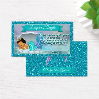 Cartão De Visitas O Raffle da fralda do chá de fraldas da sereia