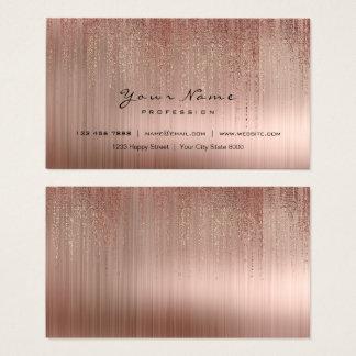 Cartão De Visitas O rosa cor-de-rosa de cobre de aço mínimo da chuva
