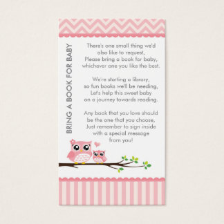 Cartão De Visitas O rosa do chá de fraldas da coruja traz uma
