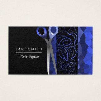 Cartão De Visitas O rosa feminino azul & preto scissor o design