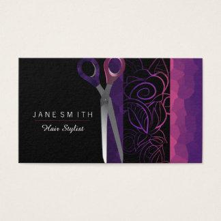 Cartão De Visitas O rosa feminino roxo e cor-de-rosa scissor o