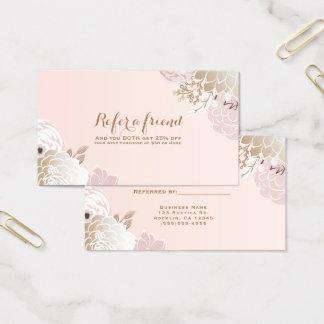 Cartão De Visitas O rosa moderno & o ouro do vintage florais