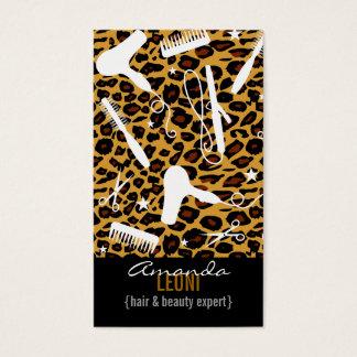 Cartão De Visitas O salão de beleza do impressão do leopardo utiliza
