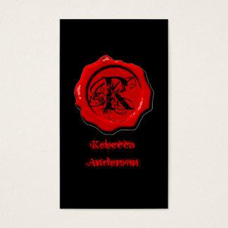 Cartão De Visitas O selo vermelho gótico da cera compo o tatuagem do