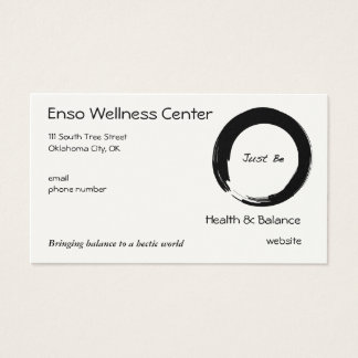 """Cartão De Visitas O símbolo do zen com """"apenas seja """""""