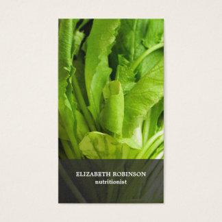 Cartão De Visitas O verde elegante moderno deixa o nutricionista