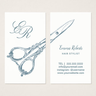Cartão De Visitas O vintage do cabeleireiro Scissor & as iniciais