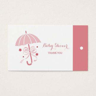 Cartão De Visitas Obrigado bonito do guarda-chuva do rosa do chá de