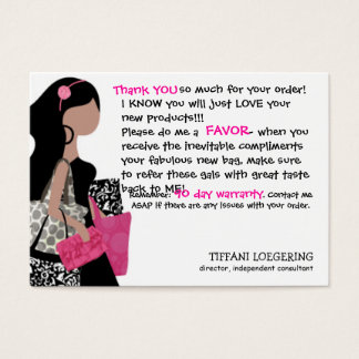 Cartão De Visitas Obrigado do cliente da senhora de SACO da equipe