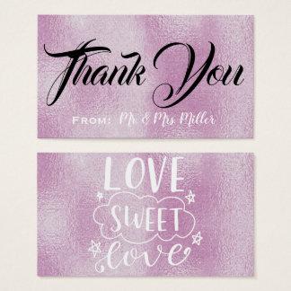 Cartão De Visitas Obrigado - FOLHA do LILAC de LOVE-SWEET-LOVE