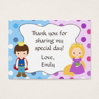 Cartão De Visitas Obrigado que do príncipe princesa Presente Favor