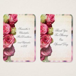 Cartão De Visitas Obrigado que romântico floral do casamento do rosa