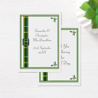 Cartão De Visitas Obrigado que verde do casamento da fita do tartan