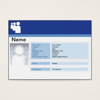 Cartão De Visitas Obscuridade de Myspace - carnudo