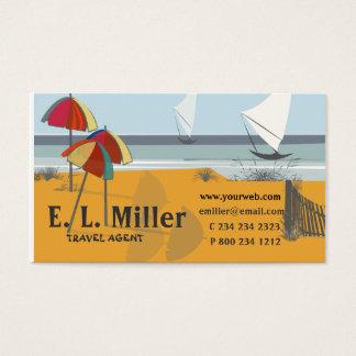 Cartão De Visitas Oceano dos veleiros dos guarda-chuvas do BEIRA-MAR