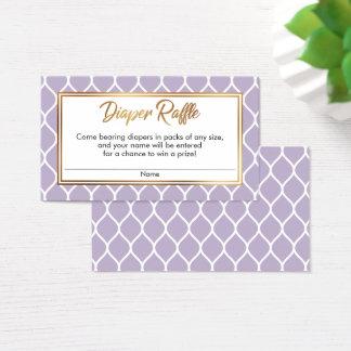 Cartão De Visitas Ogee roxo & branco com os bilhetes do Raffle da